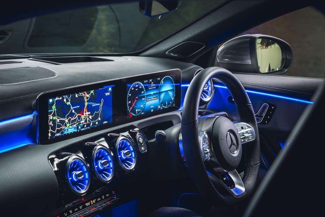Billig biluthyrning av Mercedes CLA Coupe med GPS i närheten av 111 20 Norrmalm.